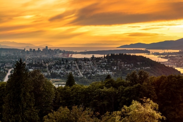 the view from burnaby mountain on a clear day