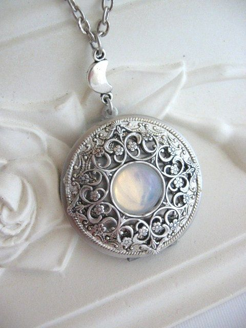 Moon LOCKET Silver Locket Necklace Silver Moon by CharmedValley