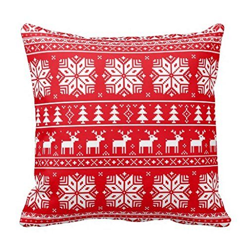 Red Vintage Christmas Sweater Pattern Pillow Case -- This is an Amazon Affiliate link. Details can be found by clicking on the image.