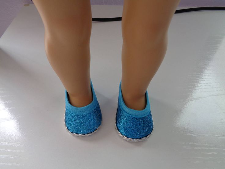 """Blue Princess Sparkle- Glitter- 18"""" Doll Shoes-Shown on my american girl doll by lillysdollclothes on Etsy"""