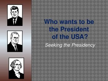 This is a PowerPoint which lists the qualifications and brief process of becoming president which includes campaigning, the electoral college, and national convention. It also includes some presidential facts.
