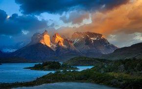Обои Чили, свет, горы, Патагония, Южная Америка, озера, облака, небо, Анды