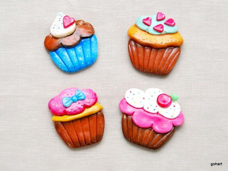 Zimna porcelana, cold porcelaine, polimer clay, mufinki, babeczki, magnes na lodówkę, cupcake,