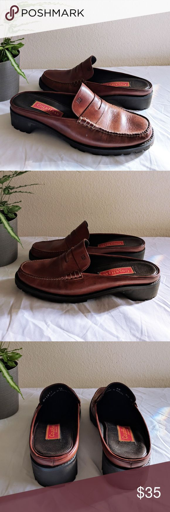 Vintage Cole Haan Brown Leather Loafers Slides 8 Beautiful and comfy Cole Haan Country loafer slide mules. In excellent condition; leather is broken in but soles are practically brand new. Fits a size 8. Cole Haan Shoes Mules & Clogs
