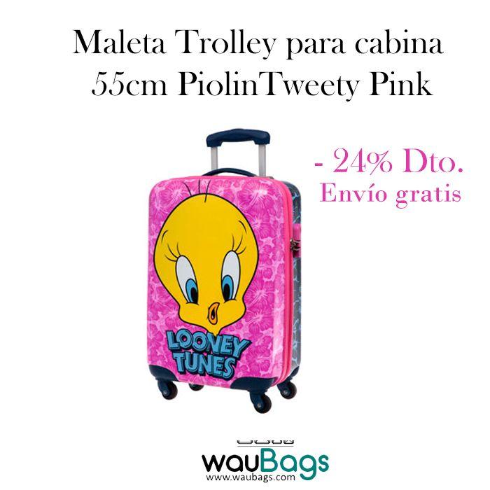 Consigue en waubags.com la Maleta Trolley PiolinTweety Pink, ahora por tan solo 79,99€ con gastos de envío gratis!!!  Con ella no tendrás que facturar, ya que sus medidas son las homologadas para poderla llevar en la cabina del avión.  @waubags #looneytunes #piolin #maleta #trolley #viaje #oferta #descuento