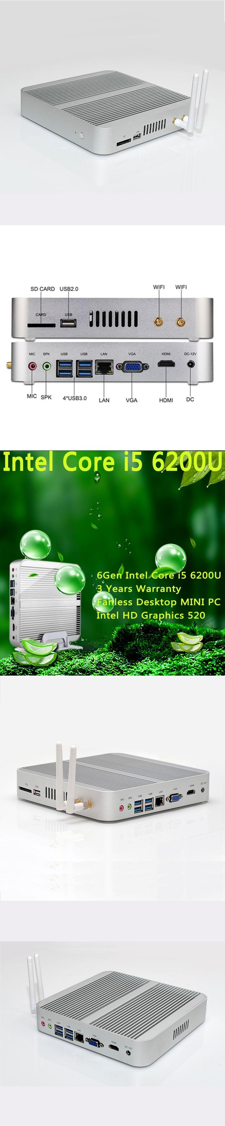Intel HD Graphics 520 HTPC TV Box 3 Years Warranty [6Gen Intel Core i5 6200U]Win10 Mini PC Fanless Desktop 4K HTPC FREE SHIPPING