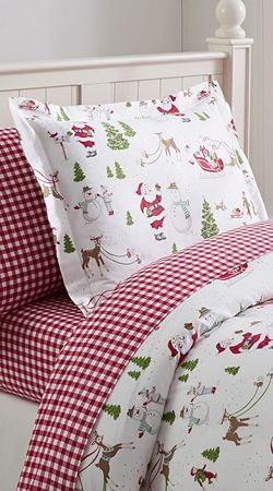 Dear Santa Flannel Duvet Cover from Pottery Barn Kids