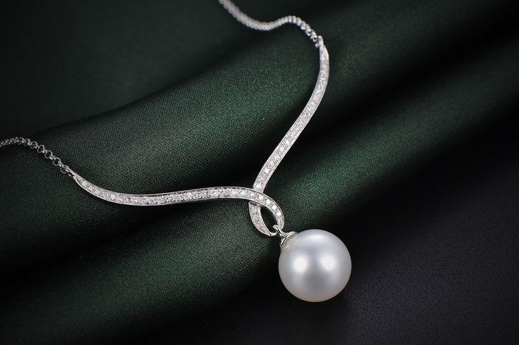 Diamond White Southsea Pearl Necklace 18KW