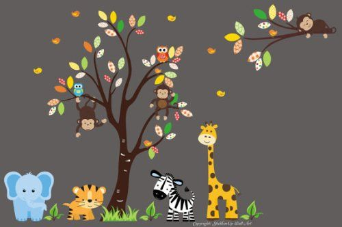 "Baby Nursery Wall Decals Safari Jungle Childrens Themed 88"" X 132"" (Inches) Animals Trees: Wildlife: Repositionable Removable Reusable Wall Art: Better than vinyl wall decals: Superior Material Nursery Wall Decals http://www.amazon.com/dp/B00AM81KFY/ref=cm_sw_r_pi_dp_lLhQvb0PTZP26"