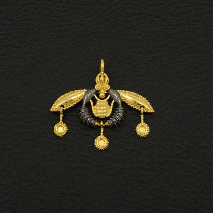 MALIA BEES PENDANT 925 STERLING SILVER 22K GOLD & BLACK RHODIUM PLATED LUXURY #IreneGreekJewelry #Pendant