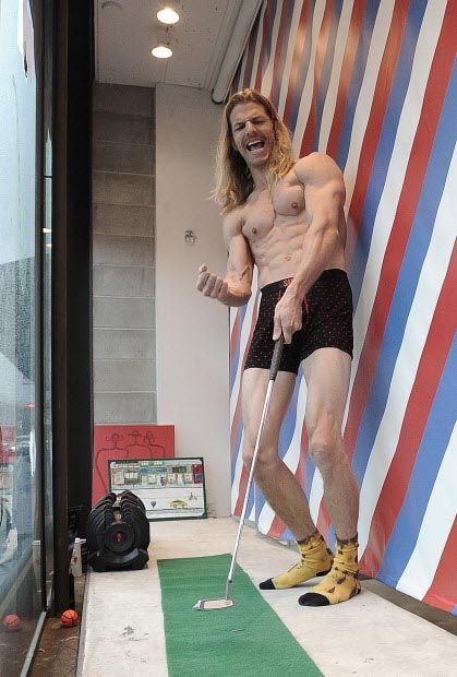 Curt Giddings in the window of the Boardroom on West 4th Avenue in Vancouver is promoting the prostate-cancer cause Movember by hanging out in his underwear all month. Two bucks from every purchase of Saxx undies this month goes to the cause. #SAXXunderwear #SAXX