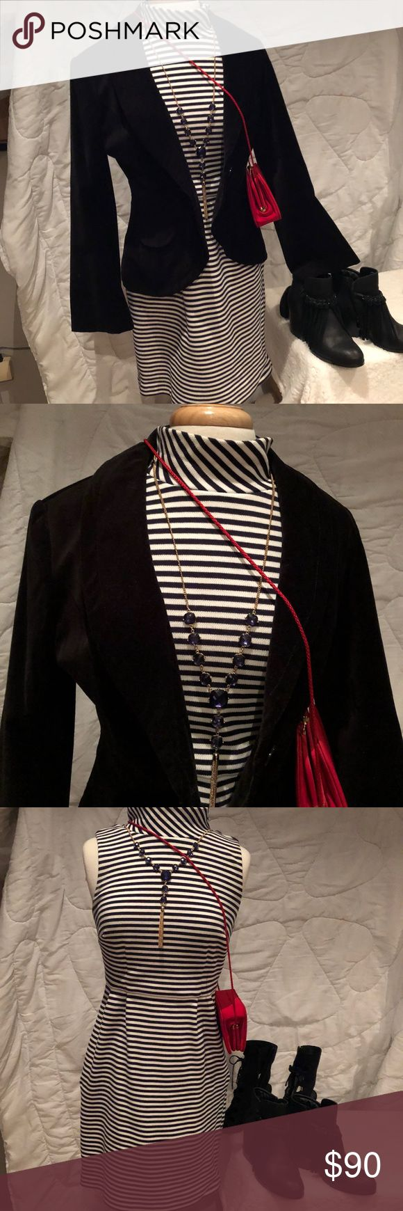 Boden Dress w Velvet Blazer Boden Black & white stripe funnel neck dress.  Size 8.  Bodice lined (not skirt).  Front seams.  Side zip. 4 pleats. H98% cotton & was 2% elastane.  32 inches across bust.  36 inches hip.  33 1/2 inches long. ———Newport News Vintage Black Blazer. Marked size 12 but it's a size 8. 2 Faux front pockets.  Shawl collar. One button close. Cutaway hem.  Fully lined.  100% cotton & 100% poly full lining.  34 inches bust.  23 1/2 inches long. ——All excellent condition.  I…