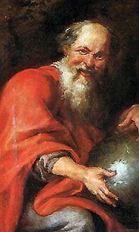"""DEMÓCRITO: nació en Abdera en el año 460 antes de Cristo. Fue un filósofo griego presocrático y matemático, se le llama también """"el filósofo que se ríe"""". Demócrito fue discípulo y después sucesor de Leucipo de Mileto. Una leyenda dice que se arrancó los ojos en un jardín para que no estorbara en sus meditaciones la contemplación del mundo externo."""