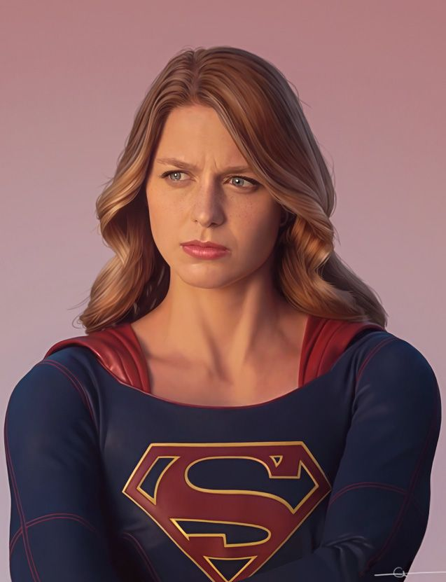 """Supergirl"" - Euclase [Elicia Donze, b. 1980], Photoshop {figurative realism art female superhero Melissa Benoit celebrity woman portrait #hyperreal digital painting #loveart} euclase.tumblr.com"
