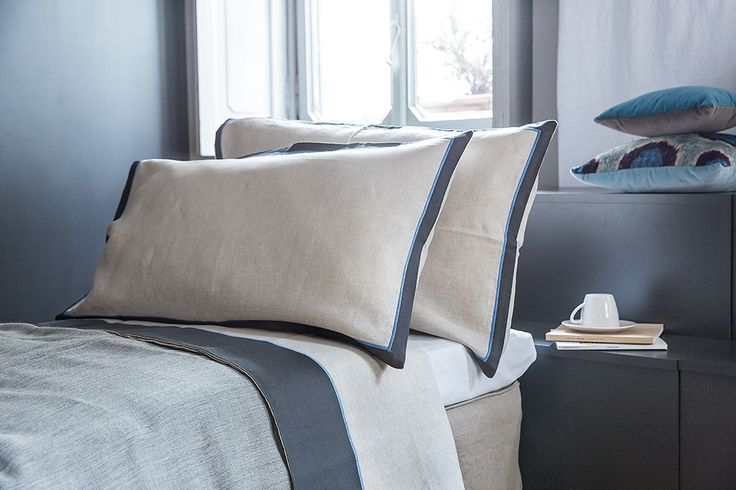 MarinaC - INES - bed set in 100% pure linen with iron grey border and cornflower satin stitch - so contemporary - shop.marinac.it #marinacmilano
