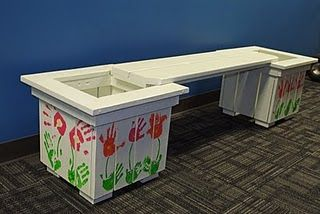 So cute!  Great auction idea! Planter bench...younger grade