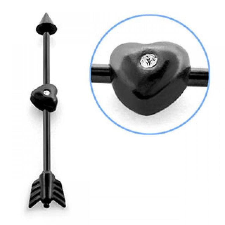 Piercing industrial de 38 mm largo y cono de 5 mm. Grosor: 1,6 mm. Acero quirúrgico. Con corazón negro con cristal en medio. Para el pabellón auricular., 4.37