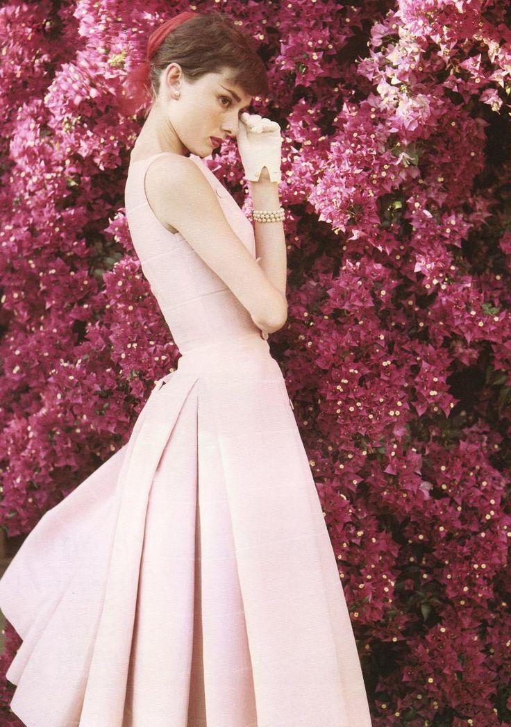 Audrey Hepburn: Pink Flowers, Pink Dresses, Blushes Pink, Fashion Icons, Audrey Hepburn Poster, Style Icons, Audreyhepburn, Audrey Hepburn Style, Norman Parkinson'S