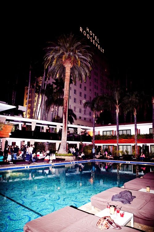 David Hockney pool and Tropicana Pool Bar at the Hollywood Roosevelt Hotel in Hollywood, CA