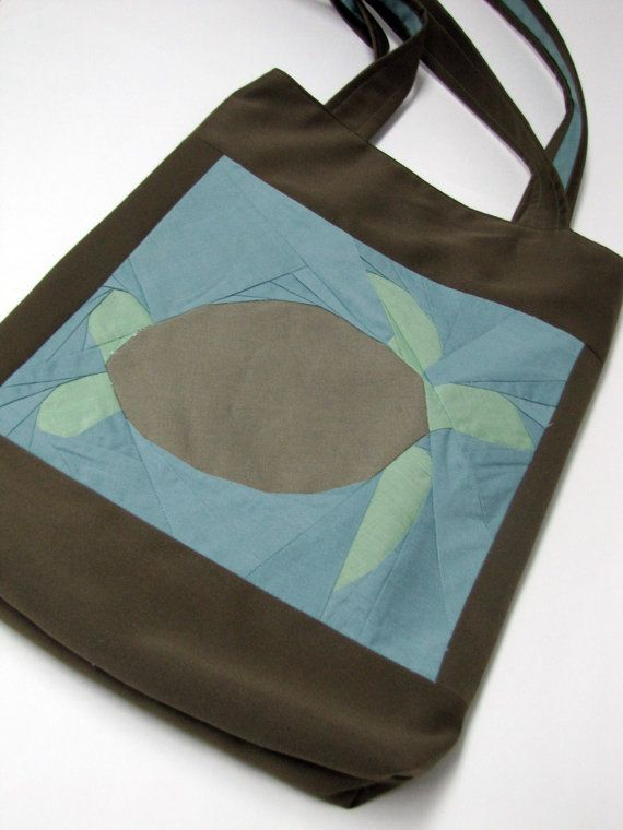 Quilt Square Sea Turtle Tote by ReneeBou on Etsy