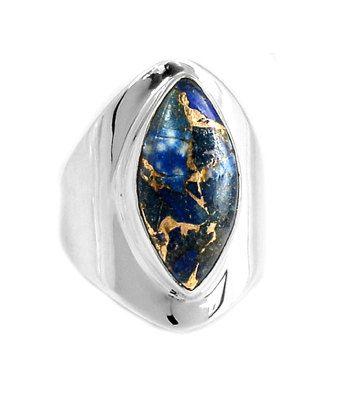 Genuine Afghani Copper Lapis Lazuli Gemstone set into 925 Sterling Silver Statement Ring US Sz.9 by Ameogem on Etsy