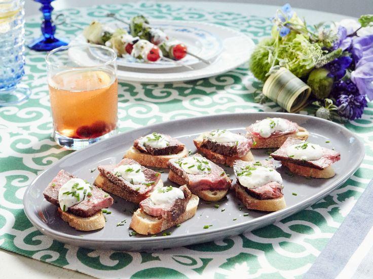 Rib-Eye Crostini recipe from Patricia Heaton Parties via Food Network