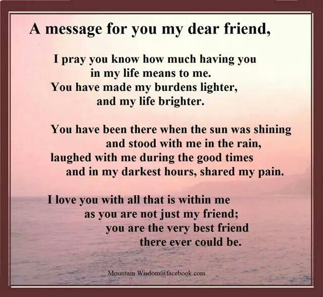 A message for my dear friends.