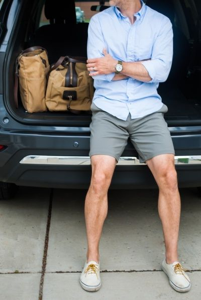 light blue oxford. gray shorts. cream colored kicks. watch. summer. style.