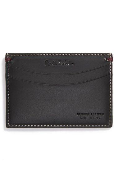 Men's Paul Smith 'Mini Through Door' Leather Card Holder - Black