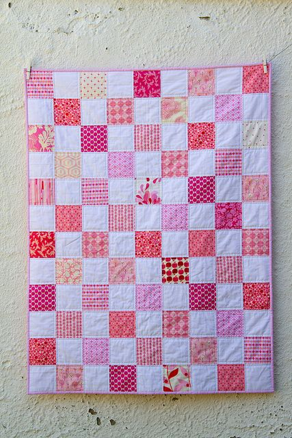 Pink squares Baby Quilt