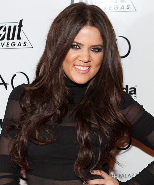khloe kardashian with dark brown hair stunning color