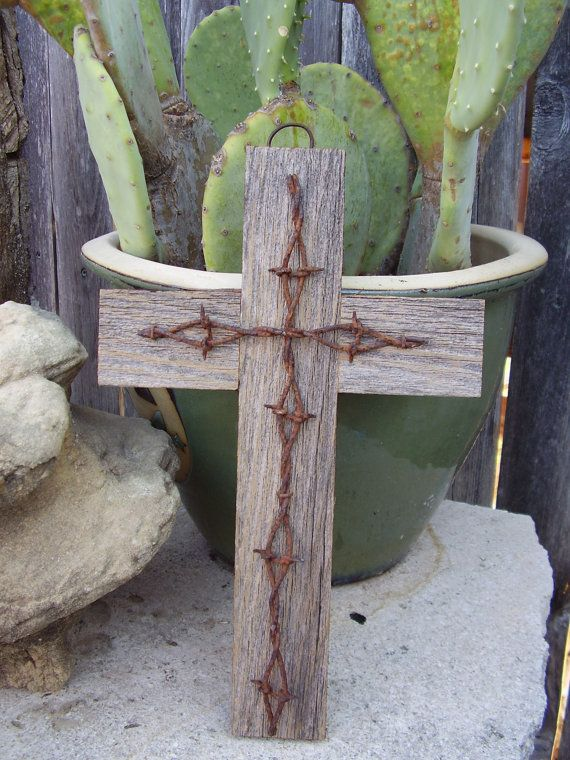 Wood and Barbwire cross