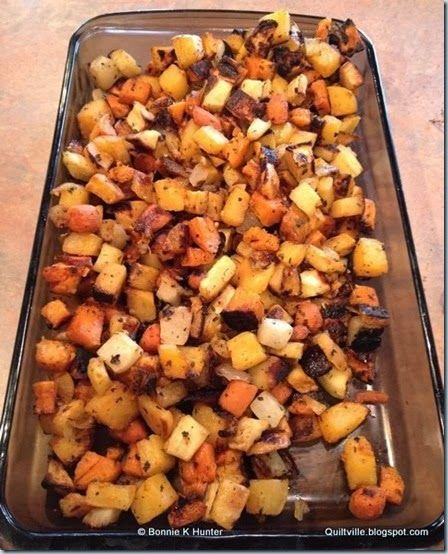 Preheat oven to 400 degrees.  Wash, peel and dice all the roots into small cubes and place in deep bowl.  Mix oil and spices in measuring cu...