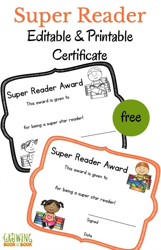 Super reader printable certificate is a free reward that you can edit.  Perfect for an award ceremony or graduation.