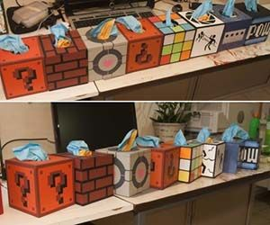 Throw out your flowery Kleenex boxes and reach for a tissue from a pixelated Super Mario Brothers cube or from the delightful companion cube with this geeky tissue boxes. These clever boxes will are the perfect gift or DIY idea for a gamer's home.