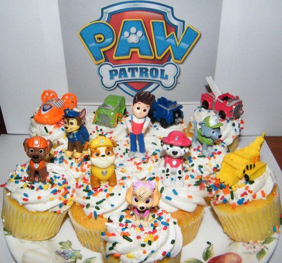 12 Nickelodeon PAW Patrol Cake Toppers Set by jenuinecraftsandmore