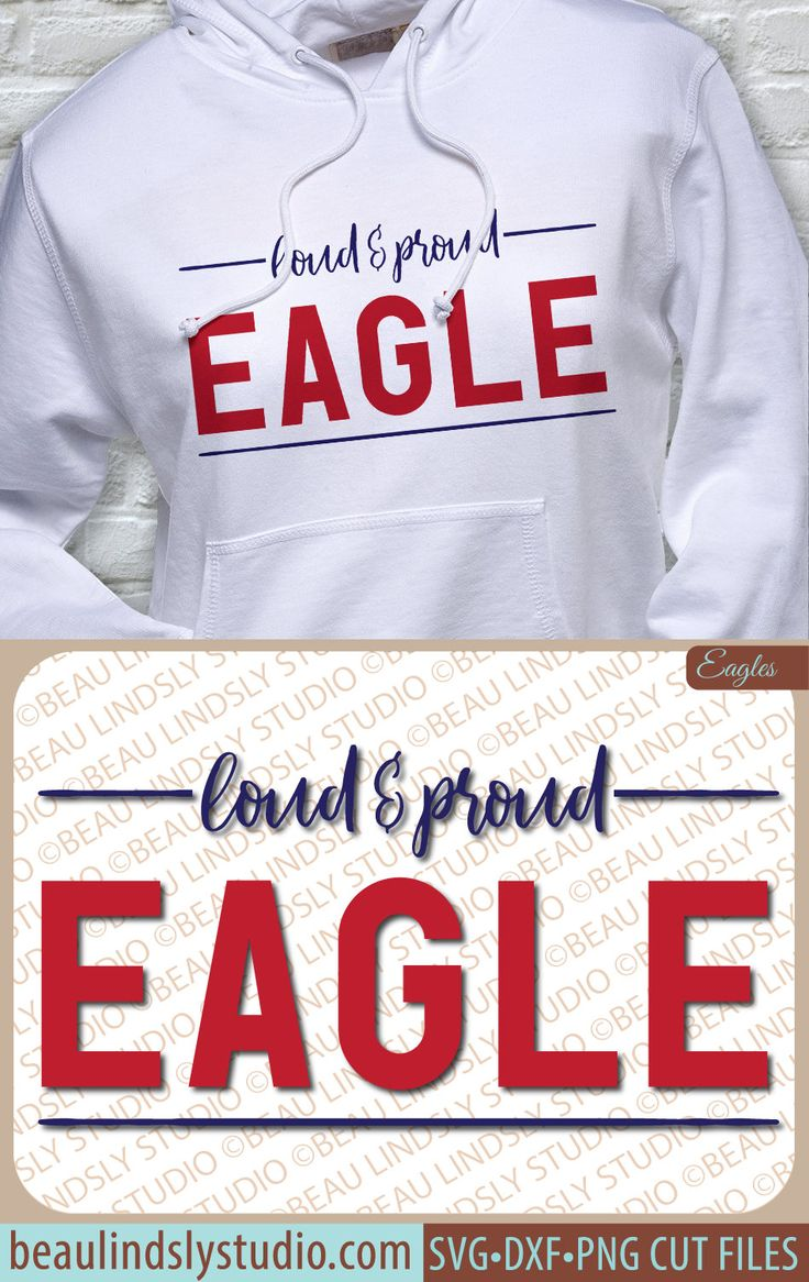 Loud and Proud Eagle! Eagles Team SVG, Eagles SVG, Eagle Mascot, Any Sport SVG File, Team Sport SVG, Football Mom SVG, SVG File For Silhouette Pattern, SVG File For Cricut Project, DXF File, PNG Image File  This classy design will show your Eagle support! This design is perfect for any sport, football, basketball, baseball, softball, volleyball, swimming, lacrosse, wresting and any other team sport, or even cheer or band! By: www.beaulindslystudio.com