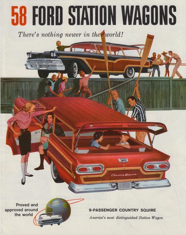 Vintage station wagon ad circa 1958.