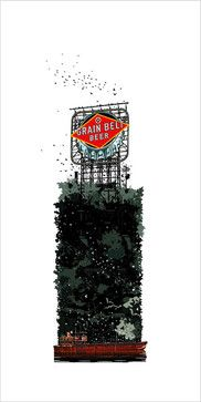 Grain Belt Birdhouse, Original Graphic Art by Mark Herman craftsman-prints-and-posters