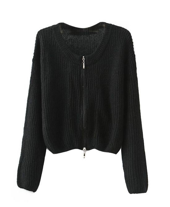Round Neck Long Sleeves Pure Color Knitwear