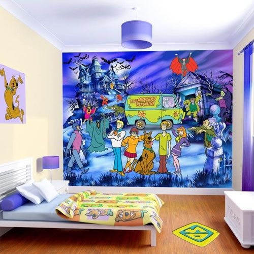 Bedroom: Amazing Scene DE Chambre Papier Peint Scooby DOO Design For Kids  With Hanging Blue Linen Drum Shade Light And Beautiful Curtain , Cheerful  Scooby ...