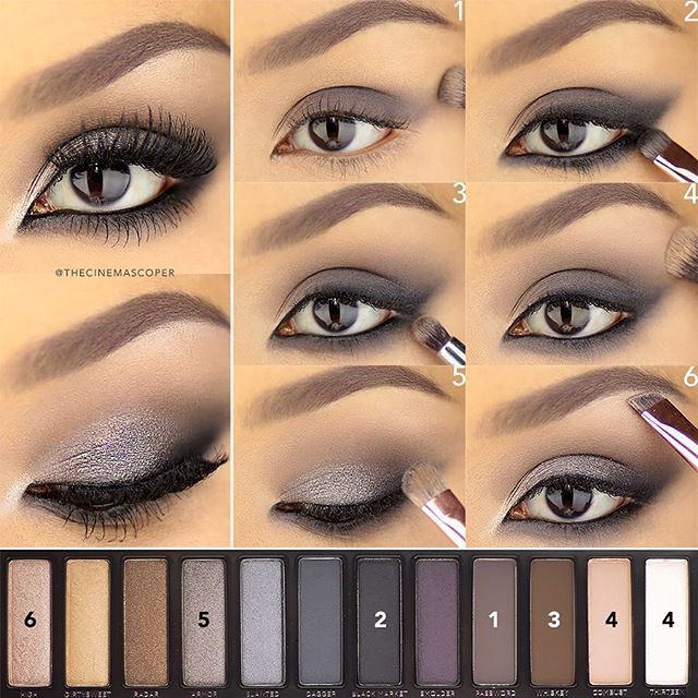 A Saturday evening tutorial for this intense eye using the @urbandecaycosmetics Naked Smoky palette. This placement of the shadow helps to create an almond shape and adds a lot of smokiness on the lower lash line so that the eyes don't close up too much. I'll post how to do the rest of the Naked Smoky eyes on my blog tomorrow!  1. Apply a wash of Password to the lid, avoiding the inner tear duct, and blending it out past the outer corner.  2. Line the entire eye, in between the lashes and on…
