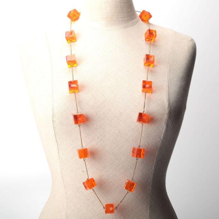 Vintage Kette orange Würfel Kunststoff 100 cm lange Halskette Twiggy 60er 60s