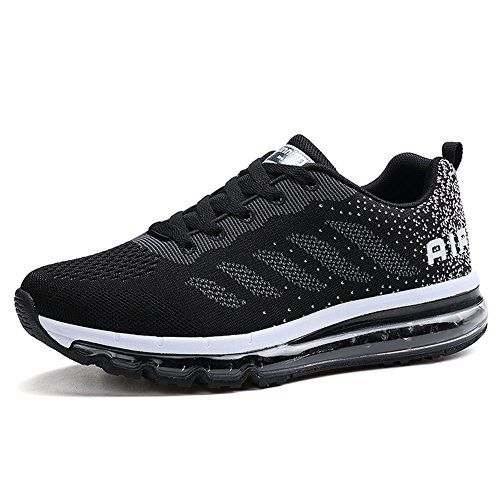 1f14e491753 Fexkean Homme Femme Baskets Chaussures de Course Sneakers Outdoor Running  Sports Fitness Gym Shoes - Noir