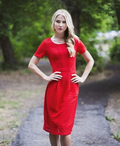 Stand out in the fiery Scarlett dress from Omika!