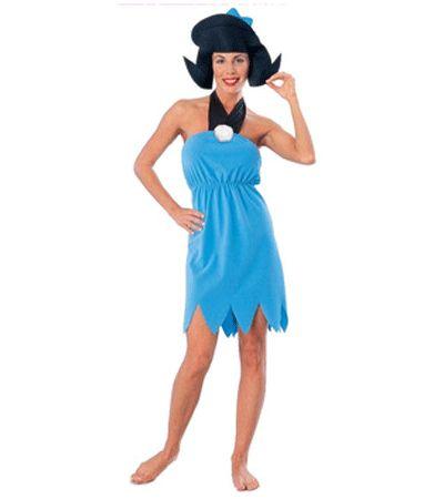 De Flintstones Betty kostuum voor dames. 2-delig Betty Rubble pak. Een blauwe jurk met zwarte halter en een hoofdstuk in de vorm van Betty haar kapsel met strikje. Carnavalskleding 2015 #carnaval