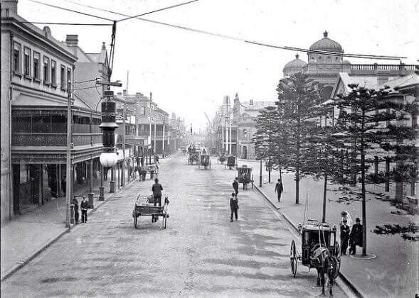 Newcastle,New South Wales,looking towards the Post Office at the corner of Hunter St and Bolton St (year unknown).A♥W