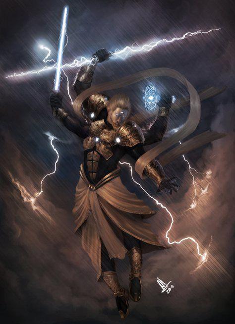 Indra: Rei dos deuses hindus. Deus do ar, das estações, das nuvens e dos relâmpagos. Protetor da natureza e guardião do mundo. Perdeu o lugar para um avatar do deus Vishnu, Vamana.