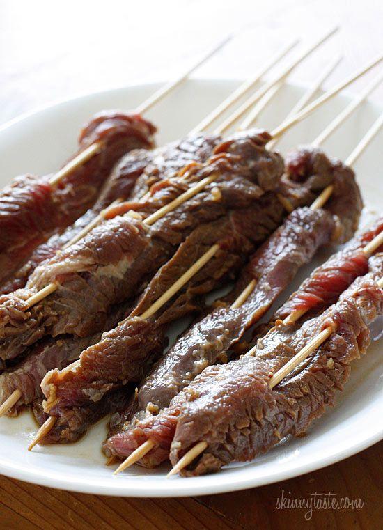 Asian Flank Steak Skewers | Skinnytaste