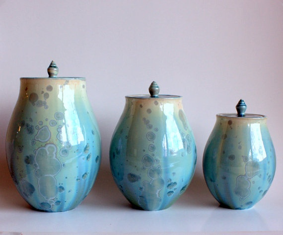 Aqua Canister Set By Brennadee Ceramics On Etsy Really Could This Be Any More